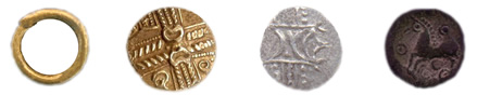 Artistic Celtic coin examples are made of gold or silver and bronze