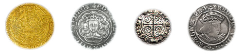 During the middle ages kings produced hammered gold and silver coins