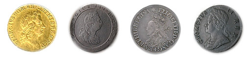 Tudor through modern era coins of Britain depict their kings and queens